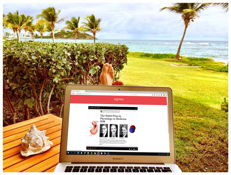 beach front laptop with arginine